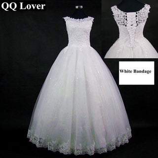2018 Lace Embroidered Beading Vintage Sweet Straps Wedding Dress Yarn Puff Vestido De Noiva