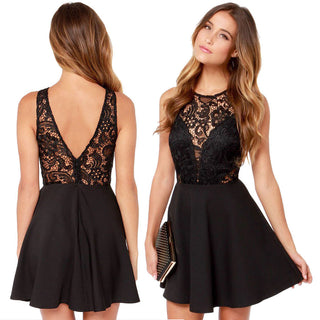 Women Summer Casual Backless Prom  Cocktail Lace Short Mini Dress - Forefront Outfitters Inc.