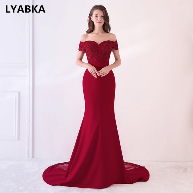 Evening Dress Abendkleider 2018 Design Sweetheart Mermaid Prom Dress Satin With Appliques Long Robe De Soiree
