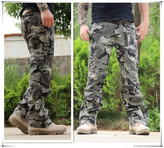 f3383abe2050a ... Tactical Pants Male Camo Jogger Casual Plus Size Cotton Trousers Multi  Pocket Military Style Army Camouflage ...
