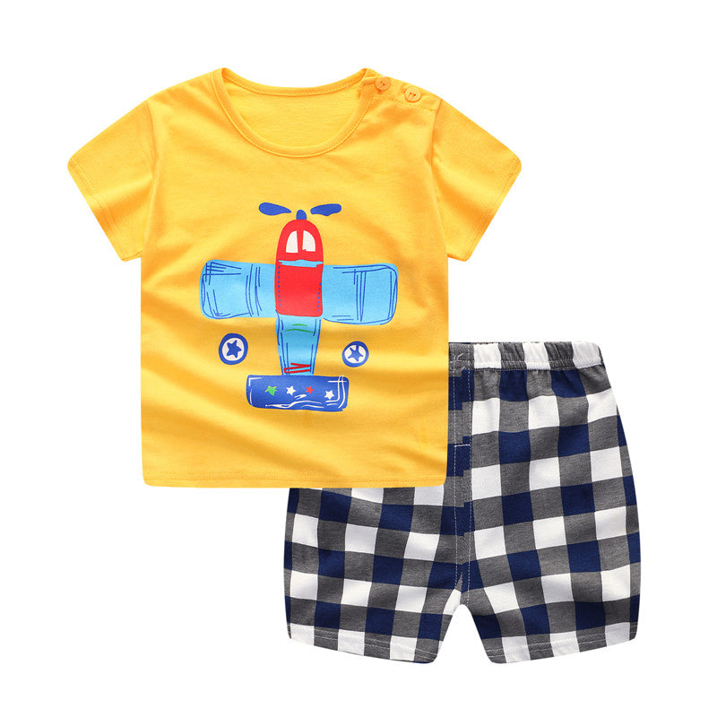 698e8df68c2 Plaid Baby Boy Clothes Summer 2018 New Aircraft Baby Boy Girl Clothing Set  Cotton Baby Clothes ...