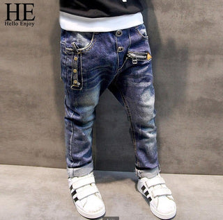 Boys pants jeans 2018 Fashion Boys Jeans for Spring Fall Children's Denim Trousers Kids Dark Blue Designed Pants