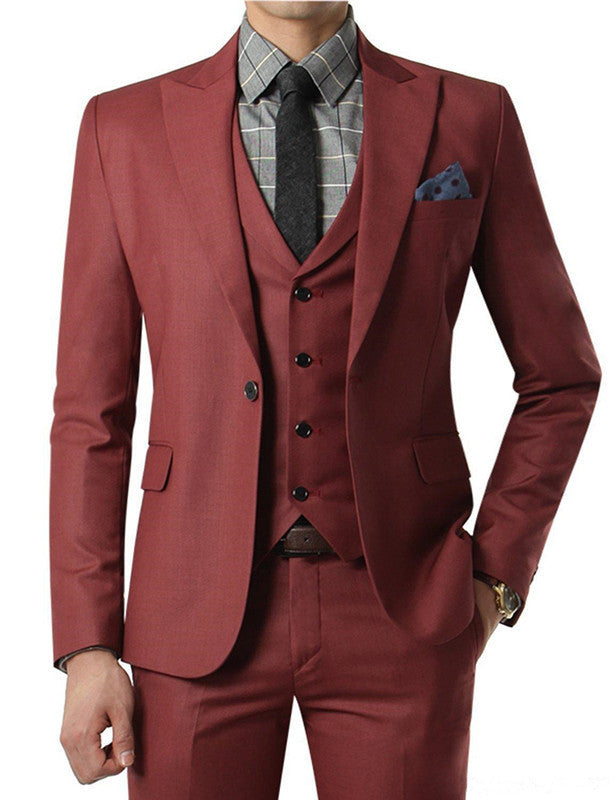 2018 Wine red Suit Custom Made Wedding Suits With Pants Mens Tuxedos Grooms Shawl Black Lapel One Button( jacket+Pants+vest+tie)