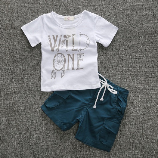 2018 Summer Children sets baby clothes boys 4 pcs set striped suit denim t-shirts + blue t-shirt car + T-shirt + jeans CCS352