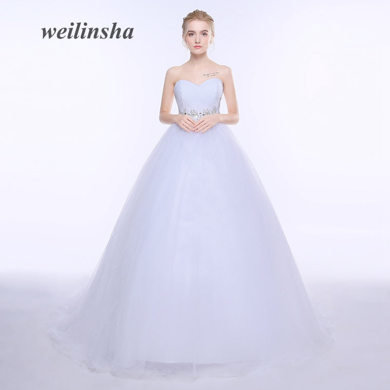 Ball Gown Wedding Dresses Brand Tulle Sweep Train Corset Bridal Dress