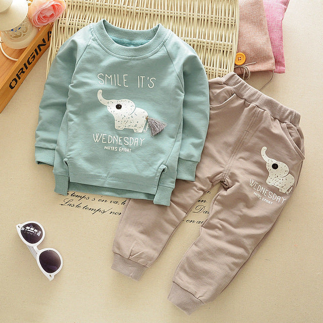 New Spring Autumn baby children boys girls Cartoon Elephant Cotton Clothing Sets T-Shirt+Pants Sets Suit 12M-4T