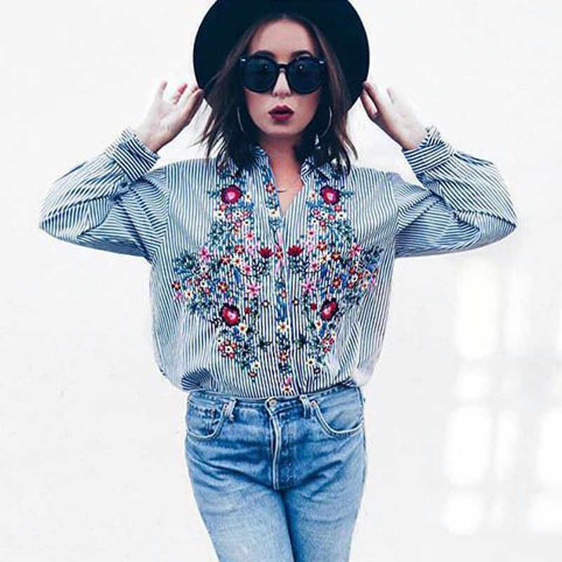 Women Floral Embroidered Casual Blouse Autumn Long Sleeve Floral Tops 2018 Fashion - Forefront Outfitters Inc.