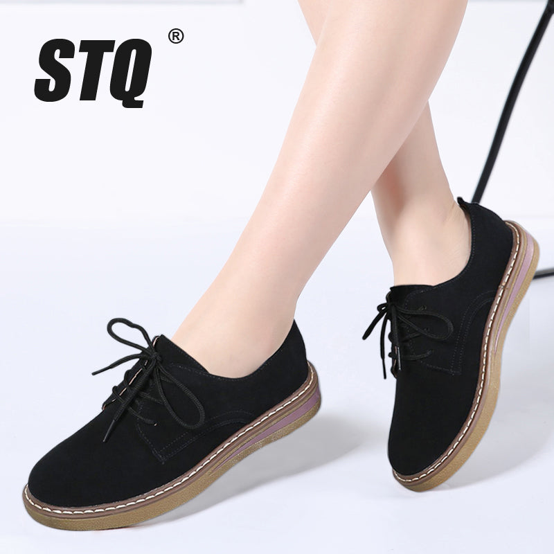 2018 Spring women sneakers oxford shoes flats shoes women leather suede  lace up boat shoes round ... 0fbf7fe418