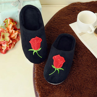 1 Pair 7 Colors Rose Flower Print Slippers For Grown Up Winter Warm Indoor Home Slippers For Girls Embroidery