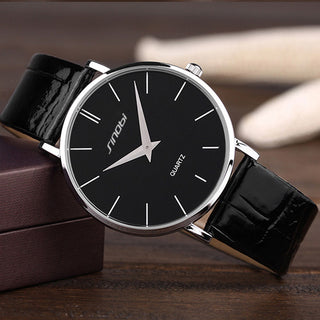 Super slim Quartz Casual Wristwatch Business JAPAN SINOBI Brand Leather Analog Quartz Watch Men's Fashion relojes hombre - Forefront Outfitters Inc.