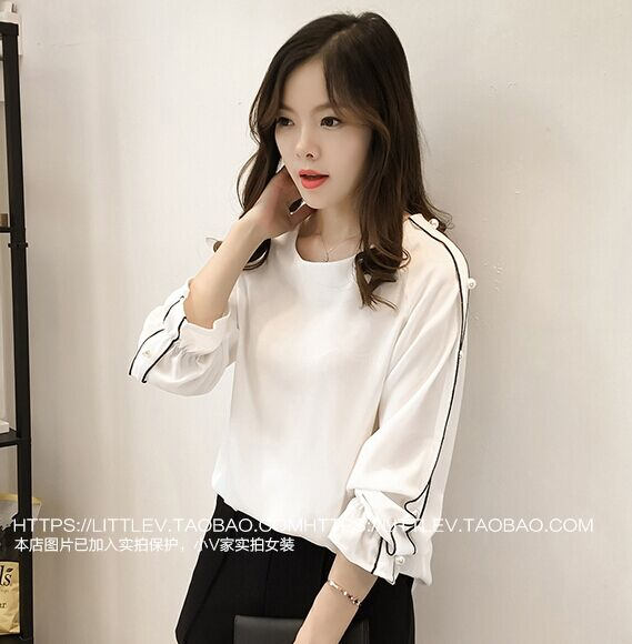 2018 Blusa Beaded Tops Autumn long-sleeved Solid color Women blouse
