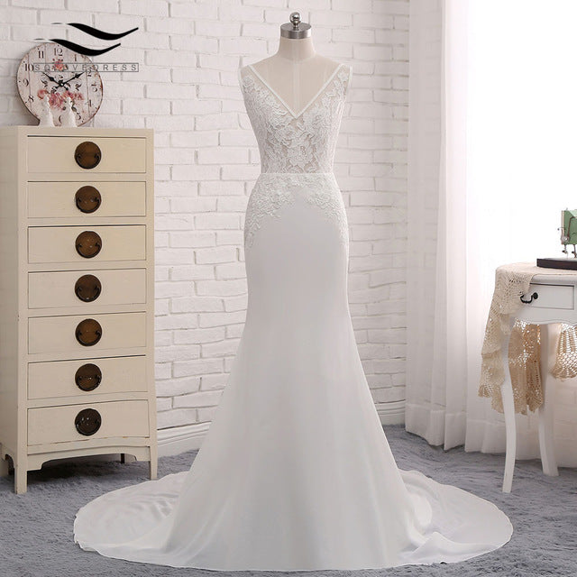 Sexy V-neck Chiffon Chapel Train Long Cap Sleeves Lace Appliques Wedding Dress Mermaid Real Photos Bridal Gown 2018 SLD-W593 - Forefront Outfitters Inc.