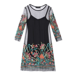 Fashion Vintage Floral Embroidery Lace Mesh Mini Dresses