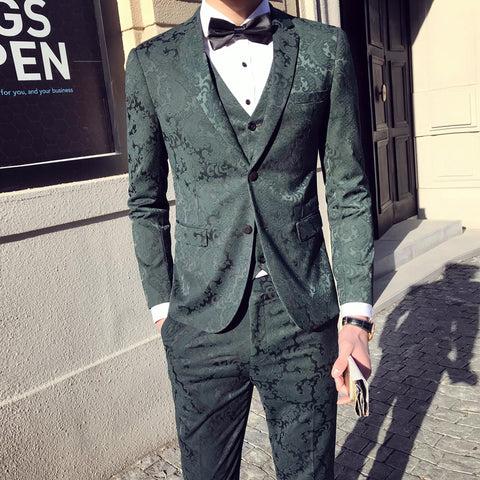 Two Button Jacquard 2018 New Flower Green Suit Black Navy Luxury Suit Male Groom  Wedding Suits Costume Homme Marriage Slim Fit - Forefront Outfitters Inc.