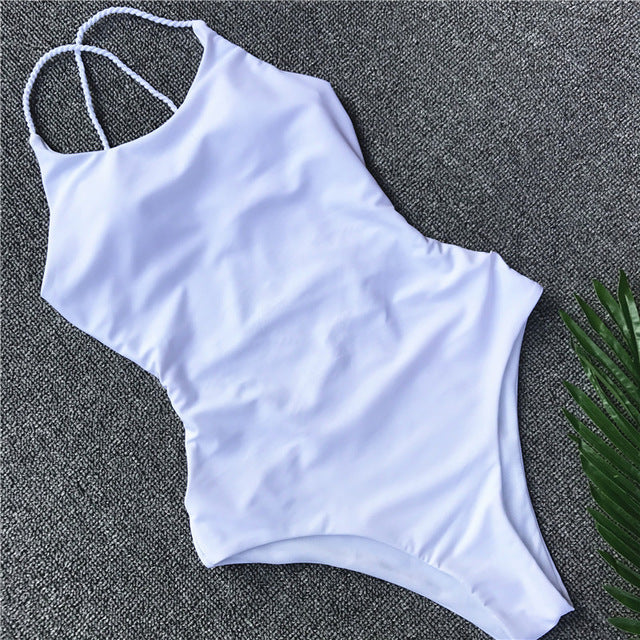 2018 Bandage One Piece Swimsuit Solid Women Swimwear Halter Bathing Suit Women Maillot De Bain Sexy Beachwear Q355