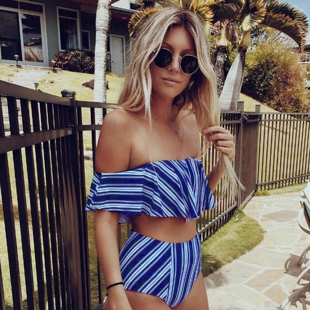 2018 Sexy bikini Set High Waist Swimwear Women Striped Biquini Ruffled Swim Bathing Suit White Blue Swimsuit Vintage Bikinis