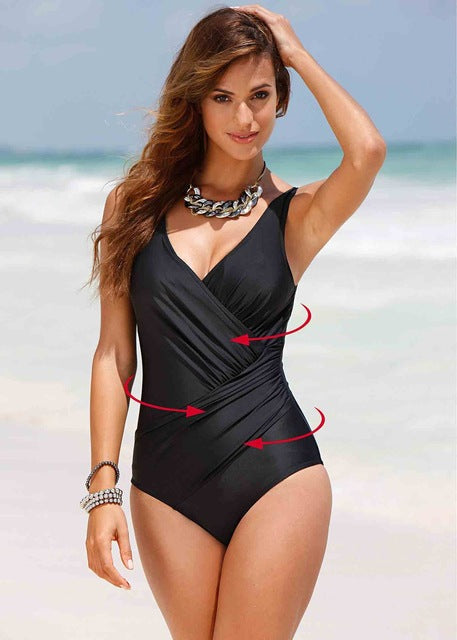 2018 New One Piece Swimsuit Women Plus Size Swimwear Retro Vintage Bathing Suits Beachwear Print Swim Wear Monokini 4XL