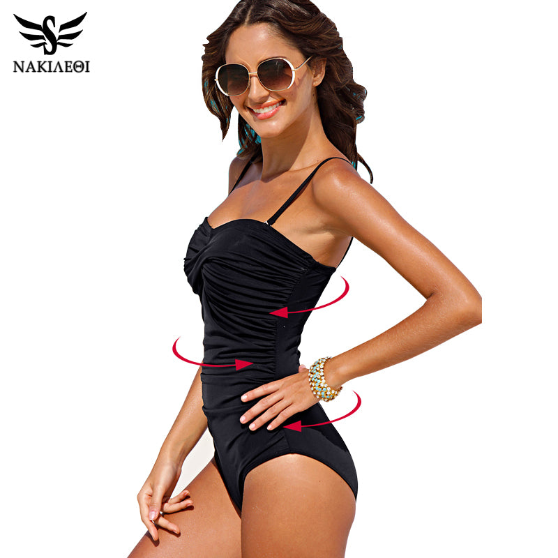 One Piece Swimsuit 2018 New Plus Size Swimwear Women Print Solid Swimwear Vintage Retro Bathing Suits Monokini Swimsuit