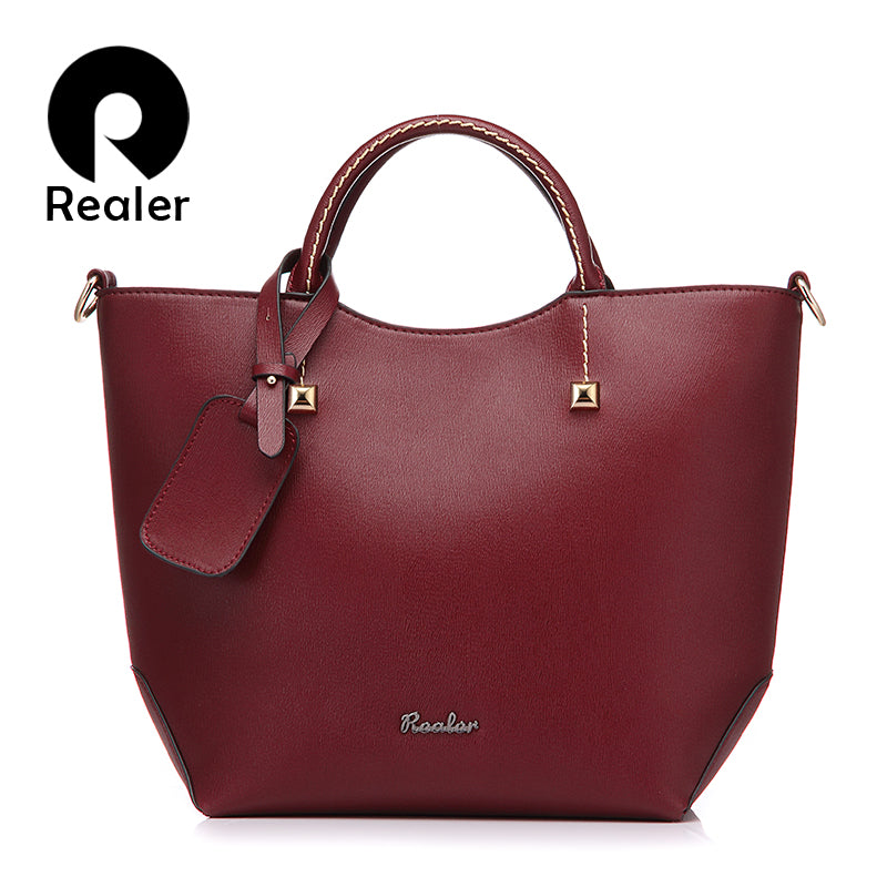 REALER brand handbag women large bucket shoulder bag female high quality artificial leather tote bag fashion top-handle bag - Forefront Outfitters Inc.