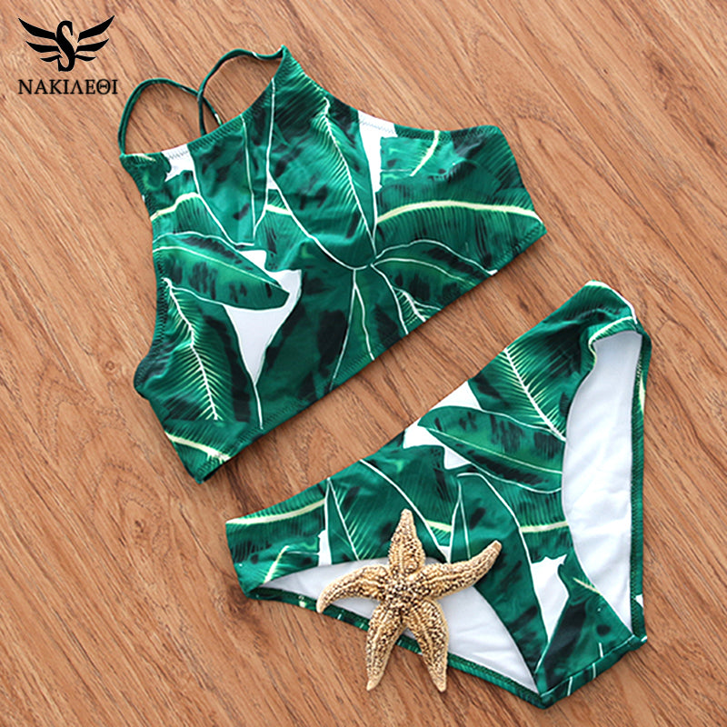 2018 Sexy High Neck Bikini Swimwear Women Swimsuit Brazilian Bikini Set Green Print Halter Top Beach wear Bathing Suits