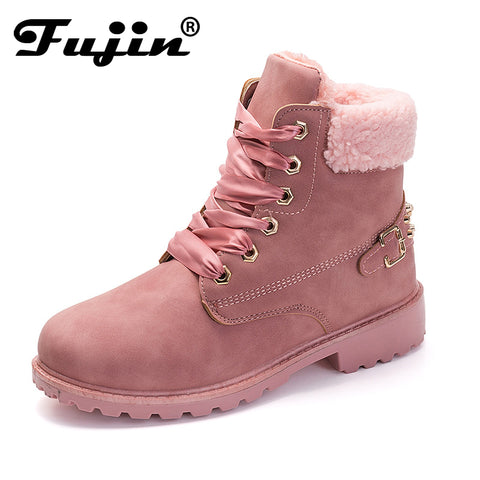 New Pink Women Boots Lace up Solid Casual Ankle Boots Martin Round Toe Women Shoes winter snow boots warm british style