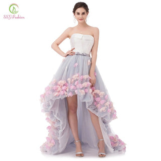 Fashion Sexy Strapless Sleeveless Short Front Long Back Lace Flower Evening Dress Bride Banquet Formal Party Gowns Vestidos