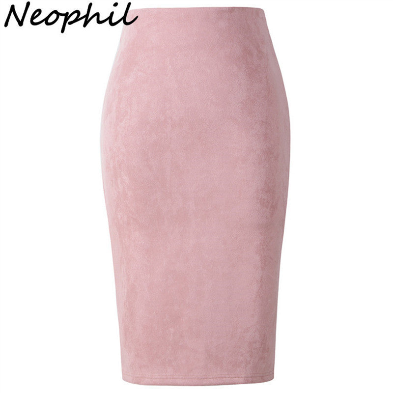 2018 Summer Gray Pink Women Suede Midi Pencil Skirts Causal High Waist Sexy Stretch Ladies Office Work Wear Saia S1009 - Forefront Outfitters Inc.