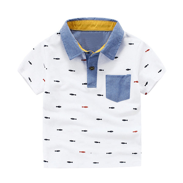 Boys T Shirts Summer T-shirts for Boy Short Sleeve Tops Tees Printed Kids Clothes Polo Shirt Children Clothing CG072