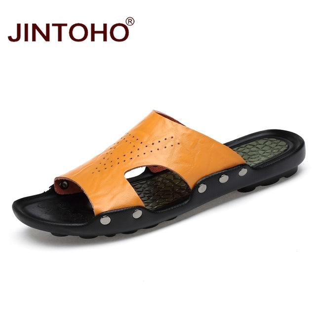 be1ec119b3438 ... Genuine Leather Shoes Summer Men Leather Slippers Fashion Male Slippers  Summer Beach Slippers For Men Massage ...