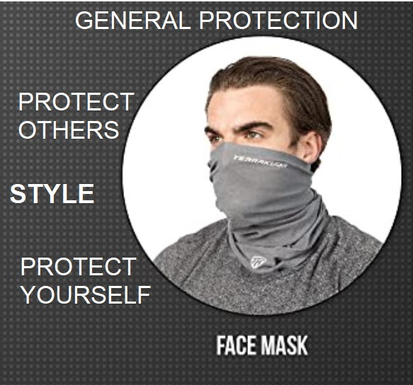 Terrakuda Multi-Functional Neck Gaiter – Non-Slip Light & Breathable Face Mask for Personal Protection from Particles Sun Wind Pollen