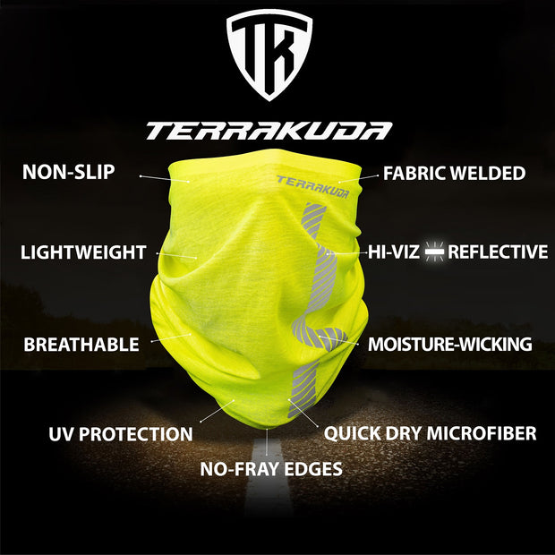 Terrakuda High Visibility Reflective Protective Safety Neck Gaiter, Face covering, Double reflective stripes (Hi-Vis Yellow) Personal Protection, Balaclava