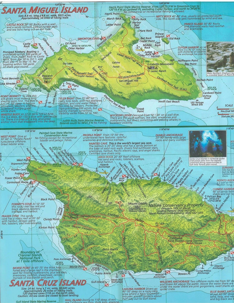 Channel Island Waterproof Dive Map