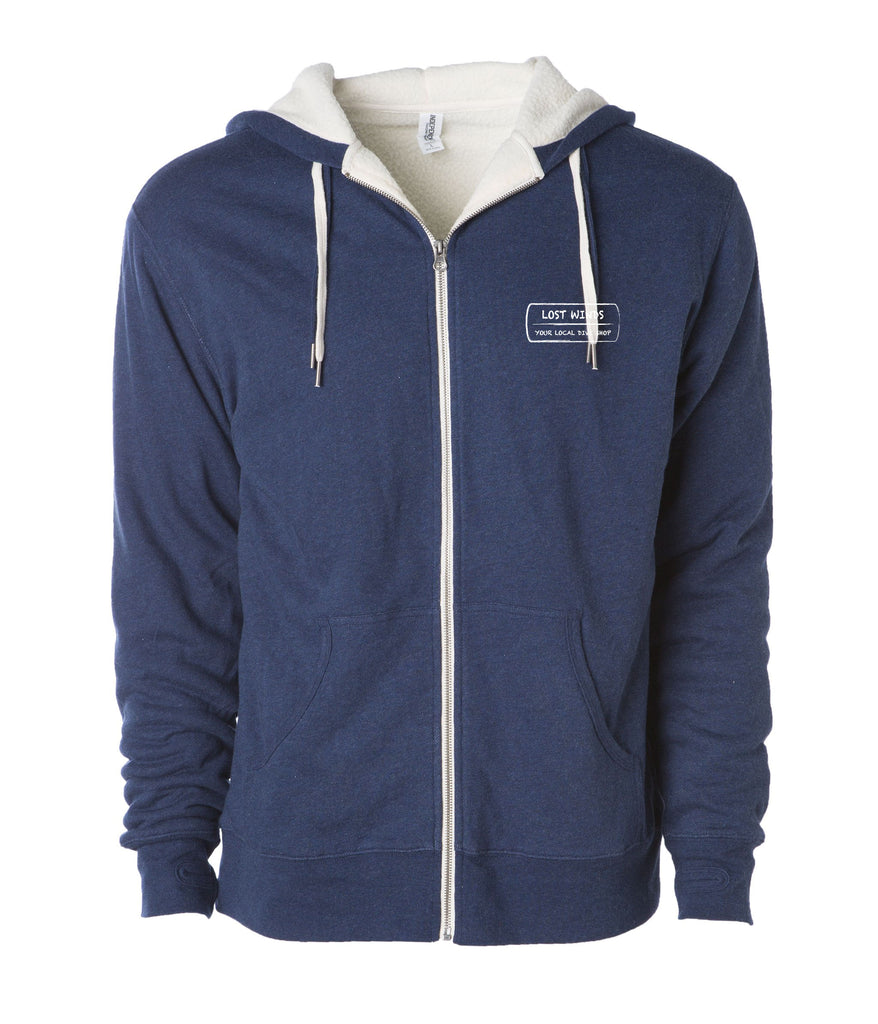 Lost Winds Sherpa Lined Heather Zip Up Hoodie | Navy