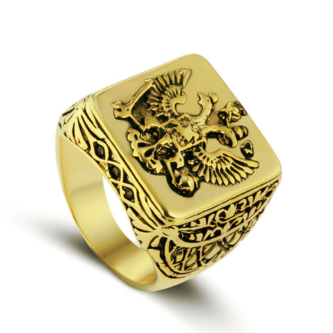 Golden Double Headed Eagle Ring