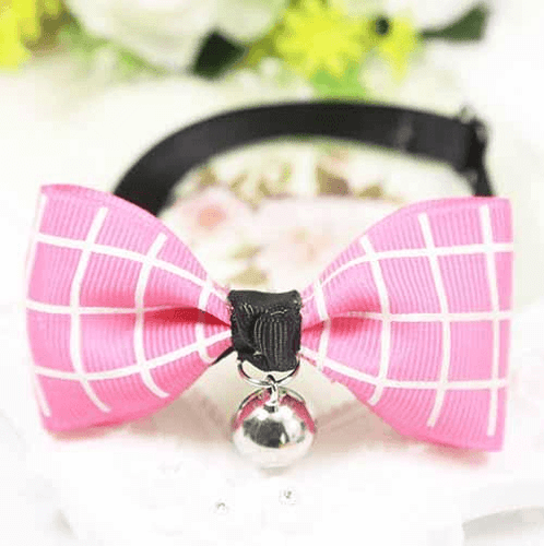 Dark Rose Plaid Dog And Cat Bow Tie