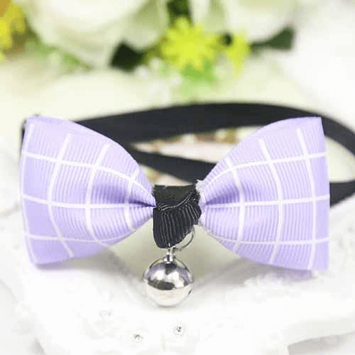 Purple Plaid Dog And Cat Bow Tie