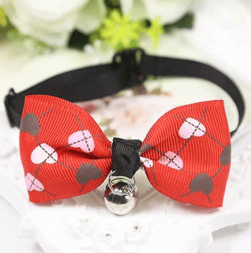 Red Dog And Cat Bow Tie With Hearts