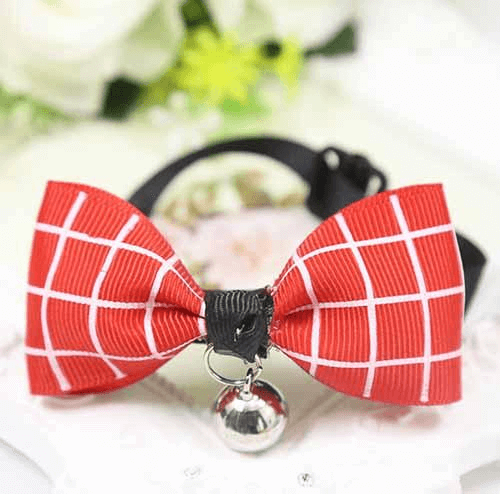Red Plaid Dog And Cat Bow Tie