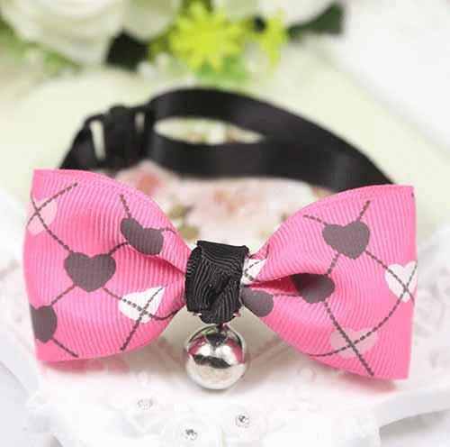 Rose Dog bow tie with hearts - AnimalsLuxury