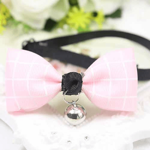 Rose Plaid Dog And Cat Bow Tie