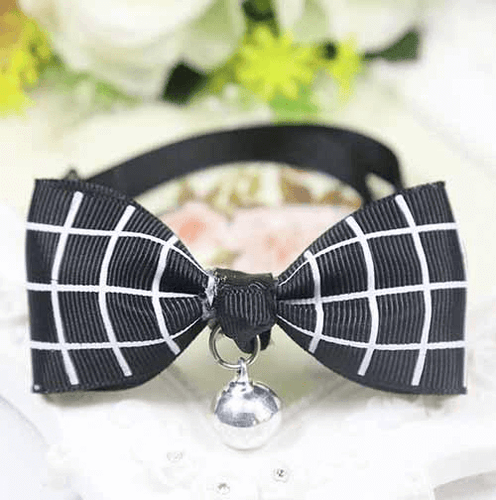 Black Plaid Dog And Cat Bow Tie