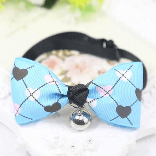 Blue Dog And Cat Bow Tie With Hearts
