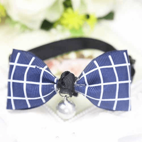 Blue Plaid Dog And Cat Bow Tie