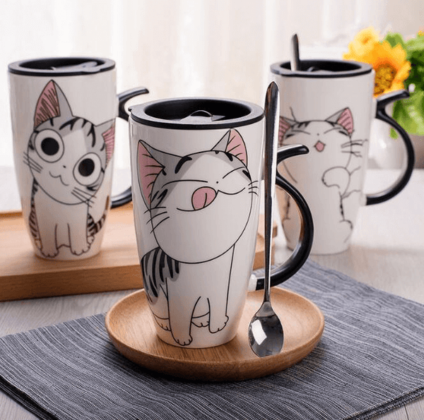 Ceramic Cat Coffee Mug With Spoon - AnimalsLuxury