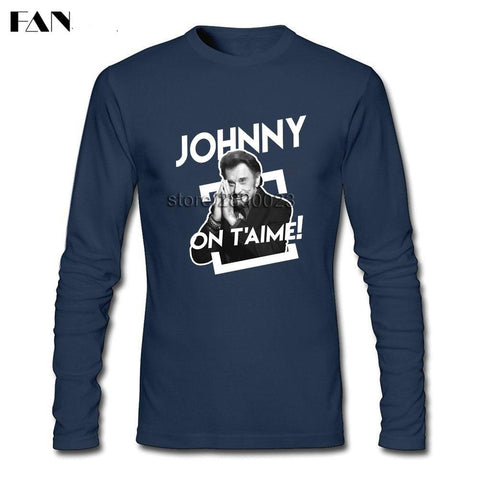 Johnny Hallyday French Design T Shirt Homme Manches Longues - At-Home Group