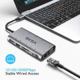 Adaptateur de type C Dock 3 Port USB 3.0 4K HDMI 1080P VGA RJ45 Gigabit Ethernet pour Macbook Pro