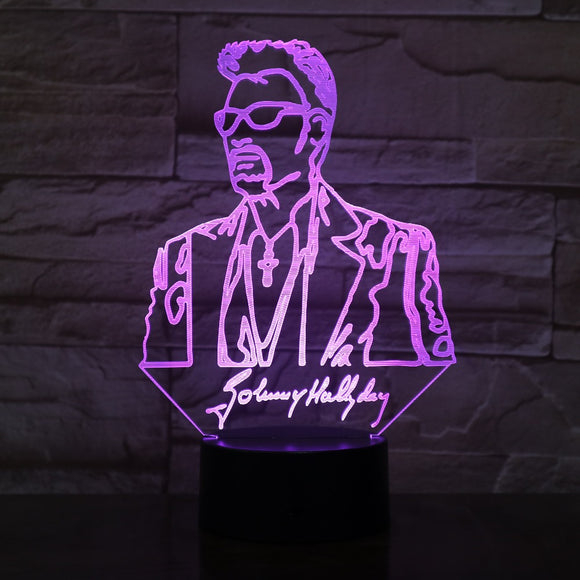 Lampe 3D led Illusion Johnny Hallyday