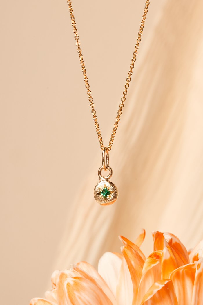 Birthstone Necklace | Emerald | Gold