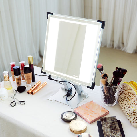 TML Meira lighted makeup vanity on a table with makeup