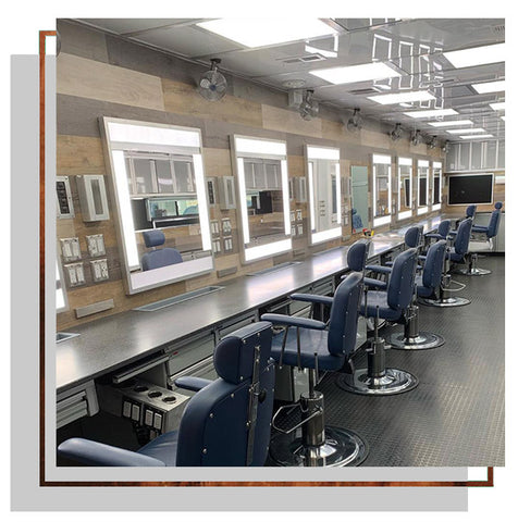 Custom lighting in a film and television makeup trailer